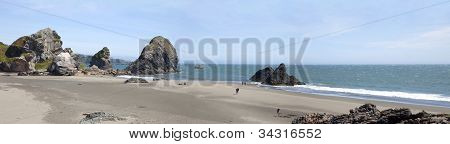 Oregon coastline panorama and rocks near Coos Bay Oregon. poster