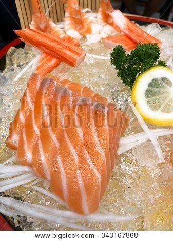 Sashimi Is Something Raw. Japanese Food. Most Popular Sashimi Is Seafood.
