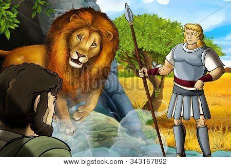Cartoon Scene With Greek Or Roman Warrior Or Philosopher Fighting Nemean Lion