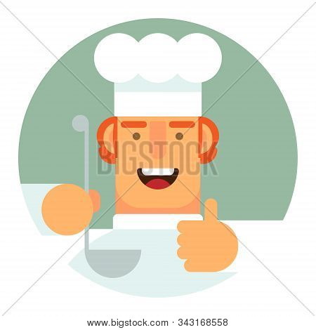 Vector Icon. Flat Icon. A Man In A Cooks Uniform