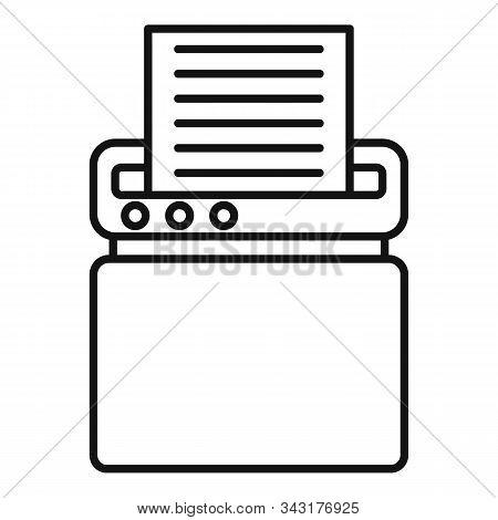 Safety Shredder Icon. Outline Safety Shredder Vector Icon For Web Design Isolated On White Backgroun