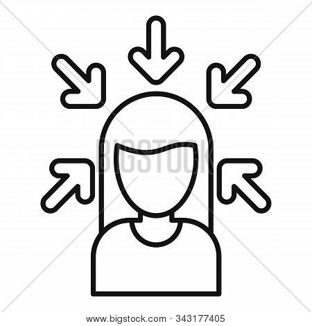 Woman Buyer Icon. Outline Woman Buyer Vector Icon For Web Design Isolated On White Background