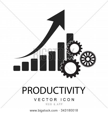 Productivity Icon. Monochrome Style  Illustration Of Productivity Icon. A Bar Chart With Gear, Incre
