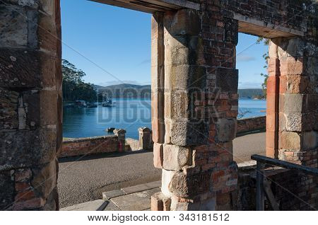 Port Arthur, Australia - July 19, 2014: View Through Windows Of Ruins Of Old Military Fortress In Po
