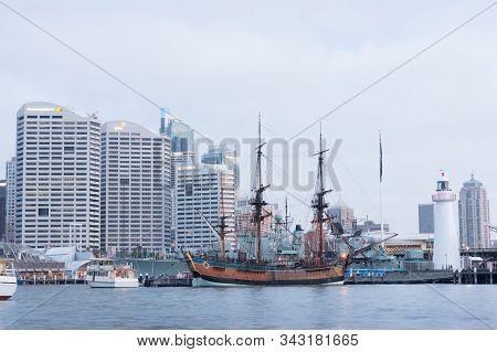 Sydney, Australia - November 22, 2014: Replica Of James Cook Hmb Endeavor Tall Ship In Darling Harbo