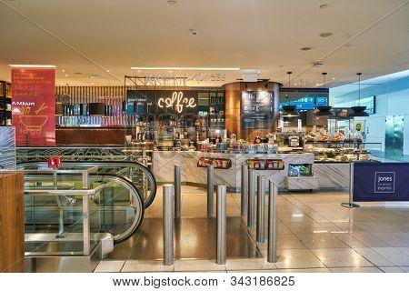 DUBAI, UAE - CIRCA JANUARY 2019: Jones the Grocer Express at Dubai International Airport.