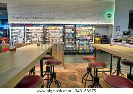 DUBAI, UAE - CIRCA JANUARY 2019: interior shot of Pret a Manger at Dubai International Airport. Pret a Manger is an international sandwich shop chain.