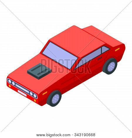Old Red Sport Car Icon. Isometric Of Old Red Sport Car Vector Icon For Web Design Isolated On White