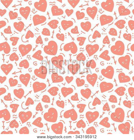 Cute Seamless Background, Hearts Of Different Shapes, Kawaii, Faces . Doodle Elements, Arrows, Waves