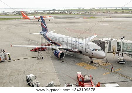 Venice, Italy - May 22, 2019:  Aeroflot Airbus A320-214 Parked At Marco Polo Airport, Venice. The Pl