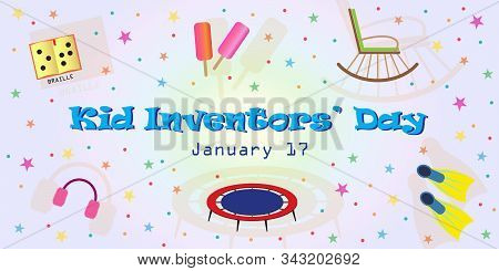 Kid Inventors Day - January 17th. Vector Card