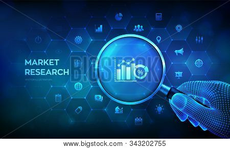Market Research. Marketing Strategy Concept With Magnifier In Wireframe Hand And Icons. Magnifying G