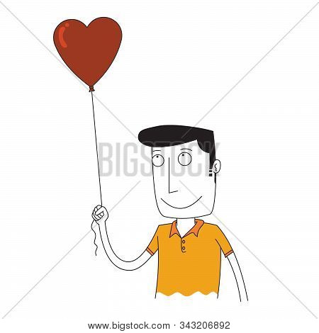 A Man Holding A Balloon Of Love