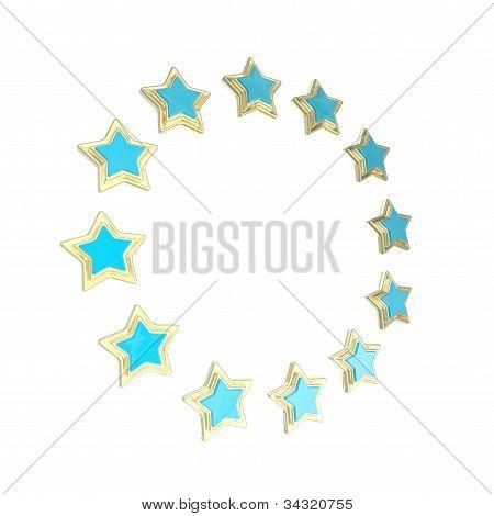 Circle star frame emblem isolated