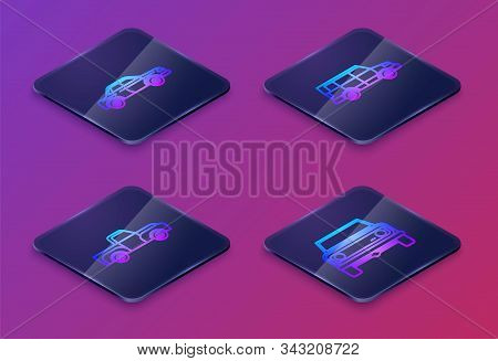 Set Isometric Line Sedan Car, Pickup Truck, Off Road Car And Off Road Car. Blue Square Button. Vecto