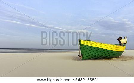 Fishing Boat On Polish Beach - Dabki, Pomerania, Poland