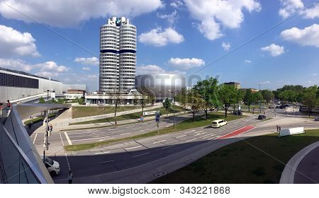 Munich, Germany - May The 1st, 2019: Bmw Headquarter Building And Museum In Munich In Bavaria Panora