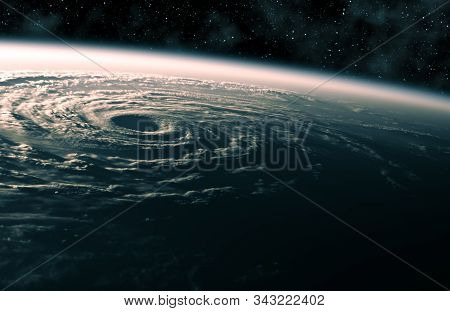 Large Hurricane Raging On Planet Earth. View From Space. 3d Illustration.