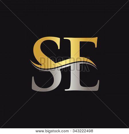Gold And Silver Letter Se Logo Design With Black Background. Se Letter Logo Design