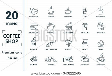 Coffe Shop Icon Set. Include Creative Elements Coffee Beans, Cappuccino, Coffee Machine, Coffee To G