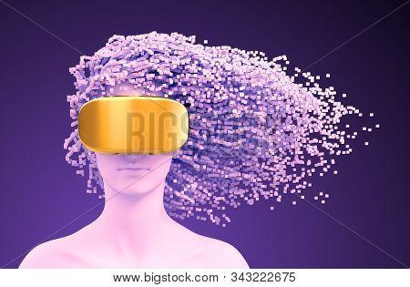 Woman Wearing Vr Glasses On Purple Background. 3d Illustration.