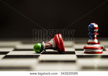Usa Flag And Iran Flag Print Screen On Chess.it Is Symbol Of United State Of America And Iran Have C