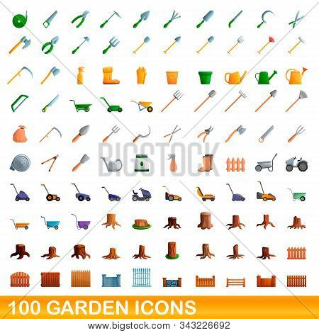100 Garden Icons Set. Cartoon Garden Of 100 Garden Icons Vector Set Isolated On White Background