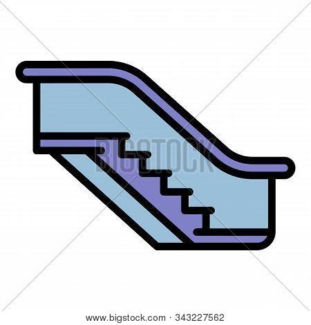 Mall Escalator Icon. Outline Mall Escalator Vector Icon For Web Design Isolated On White Background