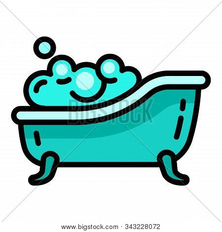 Soap Foam Bathtub Icon. Outline Soap Foam Bathtub Vector Icon For Web Design Isolated On White Backg