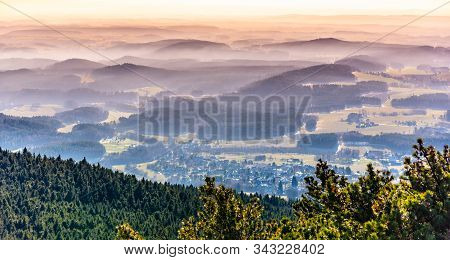 Hilly Landscape In The Mist Under Jested Mountain. Weather Temperature Inversion, Czech Republic