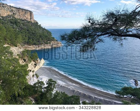 Beautiful Bay Near The Mountain, A Small Beach With Clear Turquoise Water, Coniferous Plants, Palm T