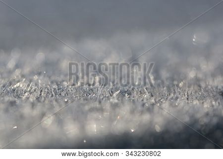 Background With Frozen Surface Covered By Hoar-frost.