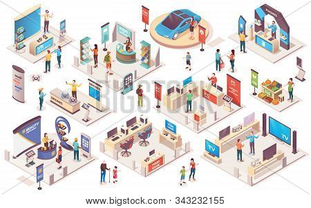 Expo Center And Trade Show Exhibition Product Display Stands, Vector Isometric Icons. Promo Trade Ex