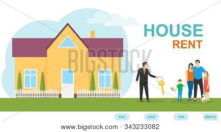 Rental Housing. An Insurance Agent Is Handing A House Key To A Young Family. Buying A Home. Moving T