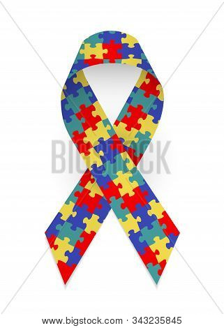 Colorful Satin Puzzle Ribbon As Symbol Autism Awareness. Isolated Vector Illustration On White Backg