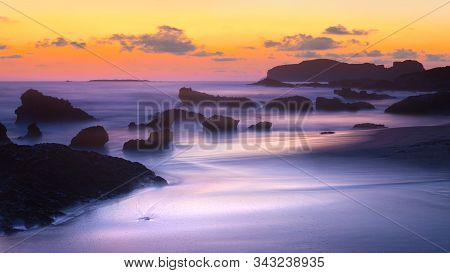 Beach In Sunset Time. Falasarna, Crete, Greece
