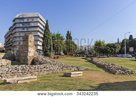 Thessaloniki, Greece - September 22, 2019: Ruins Telli Kapi In The Center Of City Of Thessaloniki, C