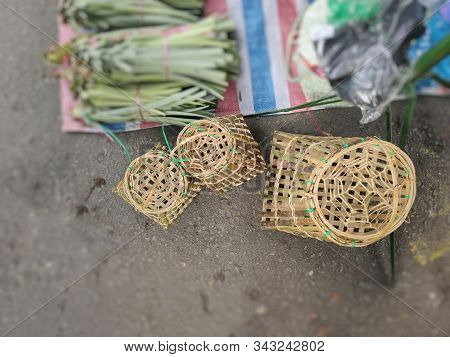 Dusunic People Tool For Fish Trapping Made Of Bamboo And Rattan Sale On Local Marketplace Located In