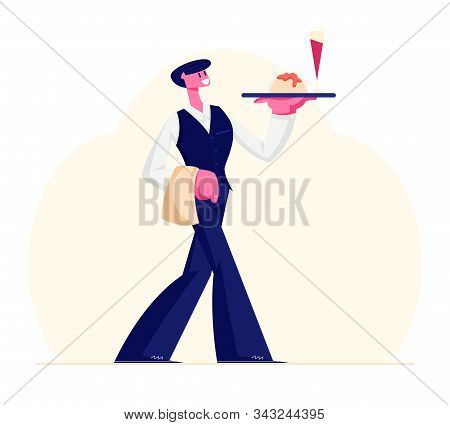 Young Waiter Male Character Wearing Uniform And Holding Towel Carrying Tray With Glass Of Red Wine A