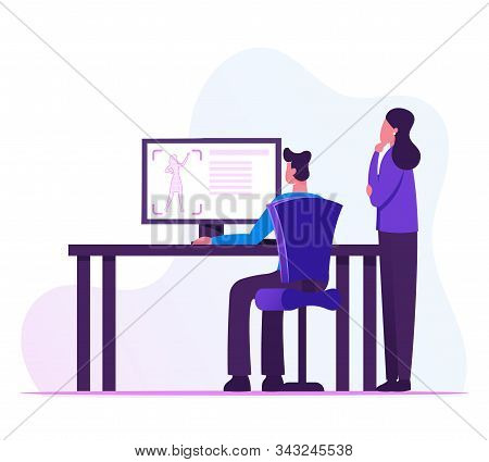 Male And Female Developers Looking On Computer Screen With Process Of Creation Prototype Female Figu