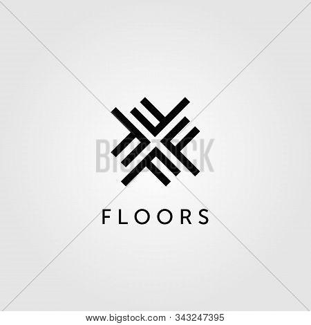 Floor Logo Initial Letter F Parquet Flooring Vector Design