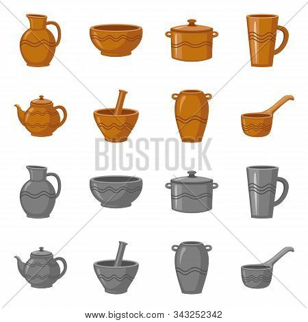 Vector Design Of Pottery And Ware Sign. Collection Of Pottery And Clayware Vector Icon For Stock.