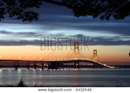 Lighted Suspension Bridge