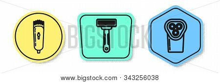 Set Line Electrical Hair Clipper Or Shaver, Shaving Razor And Electrical Hair Clipper Or Shaver. Col