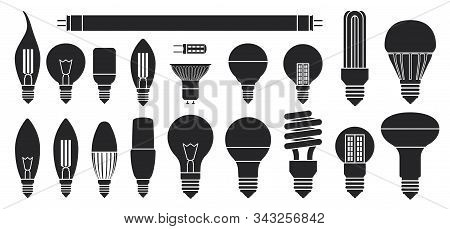 Halogen Bulb Black Vector Set Icon. Illustration Of Isolated Black Icon Halogen Of Light Lamp. Isola