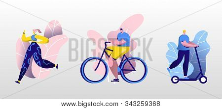 Young People Sport Activity Set. Man Riding Scooter, Woman Running, Cyclist Riding Bike. Dwellers Sp
