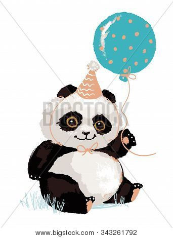 Cute Panda In A Festive Cap With A Balloon. Panda S Birthday. Cute Animal, Vector Character Isolated