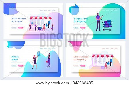 Online Shopping E-commerce Internet Store Website Landing Page. People Interacting With Gadgets For