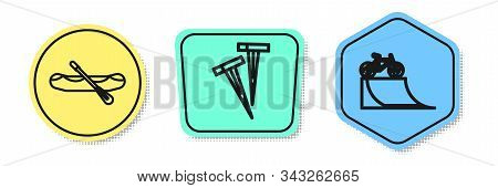 Set Line Rafting Boat, Pegs For Tents And Bicycle On Street Ramp. Colored Shapes. Vector