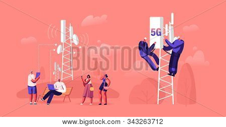 5g Technology Concept. Workers On Transmitter Tower Set Up High-speed Mobile Internet, City Dwellers